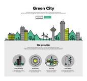 Flache Linie Netzgraphiken der grünen Stadt Lizenzfreies Stockfoto