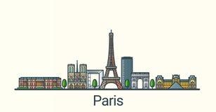 Flache Linie Paris-Fahne Stockbild