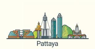 Flache Linie Pattaya-Fahne Lizenzfreie Stockbilder