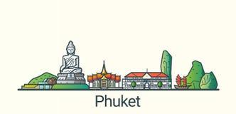 Flache Linie Phuket-Fahne Stockbild