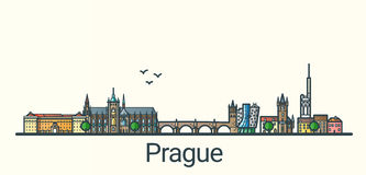 Flache Linie Prag-Fahne Stockfoto