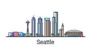 Flache Linie Seattle-Fahne Stockbild