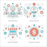 Flache Linie Suchangestellter, Internet-Handel, Investition, Geschäftserfolg-Konzepte stellte Vektorillustrationen ein Stockbilder