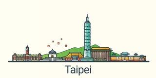 Flache Linie Taipeh-Fahne Lizenzfreie Stockbilder