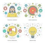 Flache Linie technische Unterstützung, Digital-Marketing, Innovations-Ideen, Geschäfts-Konzepte stellte Vektorillustrationen ein Lizenzfreie Stockbilder