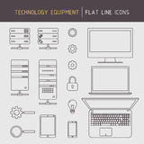 Flache Linie Technologieausrüstung Lizenzfreies Stockfoto
