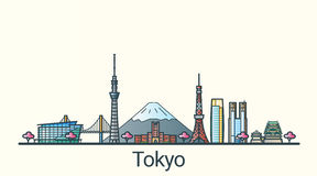 Flache Linie Tokyo-Fahne Stockbild