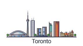Flache Linie Toronto-Fahne Lizenzfreie Stockfotografie