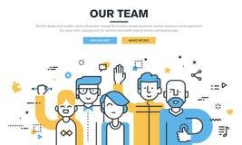 Flache Linie Vektor-Illustrationskonzept der Designart modernes für Geschäftsleute Teamwork Stockfotografie