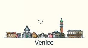 Flache Linie Venedig-Fahne Stockbilder