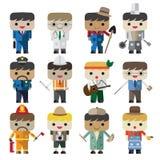 Flache männliche verschiedene Besetzungscharaktere des Karikaturvektors Lizenzfreie Stockbilder
