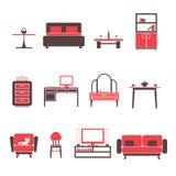 Flache Möbel-Ikonen und Symbol-Satz für Wohnzimmer lokalisierte Vektor-Illustration Stockbild