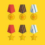Flache Medaillenikonen Lizenzfreie Stockbilder