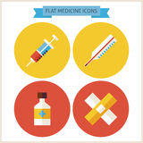 Flache Medizin-Website-Ikonen eingestellt Lizenzfreie Stockbilder