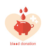 Flache medizinische Ikonen des Konzeptes von Sparschwein als Blutspende Lizenzfreie Stockbilder