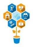 Flache medizinische Ikonen mit Schatten lizenzfreie abbildung