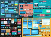 Flache Mega- Sammlung UI: Ikonen: Netz und Technologie Stockfotografie