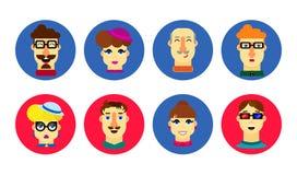 Flache menschliche Gesichter Karikaturmann und weiblicher Avatara Leuteikonense Stockbilder