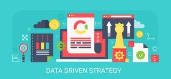 Flache moderne Vektorkonzept Daten gefahrene Strategiefahne mit Ikonen und Text stock abbildung