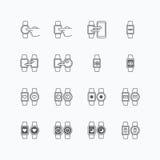 Flache Monolinie Designvektor der intelligenten Uhrikonen Lizenzfreies Stockfoto