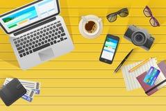 Flache Netzfahne auf dem Thema der Reise, Ferien, Abenteuer Lizenzfreies Stockfoto