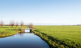 Flache Polderlandschaft im Herbst Lizenzfreies Stockbild