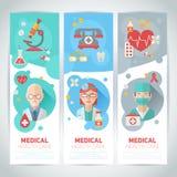 Flache Porträts Ärzte auf Fahnen Lizenzfreie Stockbilder