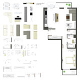 Flache Projektion des Vektors mit Möbeln set Skala 1: 10 Lizenzfreie Stockfotografie