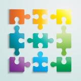 Flache Puzzlespielschablonen-Planpapierillustration Stockfoto