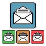 Flache, quadratische Ikone einer offenen Umschlagpost Vier Farbveränderungen vektor abbildung