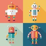 Flache quadratische Ikonen der Roboter mit langen Schatten Satz 11 Lizenzfreies Stockfoto