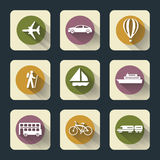 Flache Reise-Ikonen Stockfoto