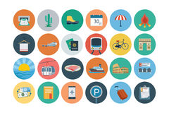 Flache Reise-und Tourismus-Vektor-Ikonen 7 stock abbildung