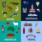 Flache Reisesymbole und -ikonen Australiens Stockfoto