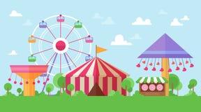 Flache Retro- Funfair-Landschaft mit Unterhaltungsanziehungskräften Stockfoto