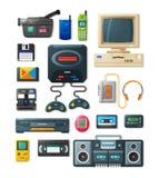 Flache Retro- Geräte von 90s Stockfotografie