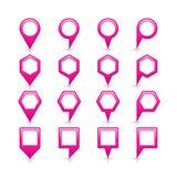 Flache rosa Farbkartestiftvorzeichenstelleikone Stockbild