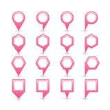 Flache rosa Farbkartestiftvorzeichenstelleikone Stockbilder