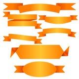 Flache Sammlung der Vektor-Goldband-Fahne Lizenzfreies Stockfoto