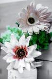Flache Schärfentiefe Gewebe-Blume auf hölzernem Latten-Rahmen Stockbilder