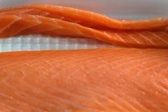 Flache Schärfentiefe Lachsfiletnahaufnahme Japanische Nahrung stockfotos