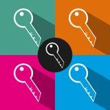 Flache Schlüsselikone in der Art lokalisiert auf Farbhintergrund Stockbild