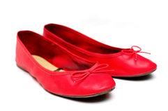 Flache Schuhe der Frauen lokalisiert Lizenzfreies Stockfoto