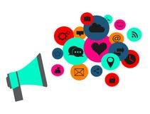 Flache Social Media-Ikonen in den Ballonen vector Neonfarben Lizenzfreie Stockfotografie