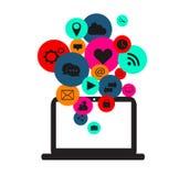 Flache Social Media-Ikonen mit Computergerät-Neonfarben Lizenzfreie Stockbilder