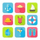 Flache Sommerferien und Erholungsort quadratische APP-Ikonen eingestellt Stockfotos