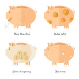 Flache Sparschweinikonen vector Illustrationskonzepte der Finanzierung und Geschäft, Geld mag Ruheeinkommens-Transparenzbudget Lizenzfreie Stockfotos