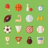 Flache Sport-Erholungs-und Wettbewerbs-Gegenstände eingestellt mit Schatten Stockfoto