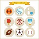Flache Sport-und Erholungs-Ikonen eingestellt Stockfotos
