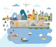 Flache Stadt der Karikatur mit Fluss und Bergen Lizenzfreie Stockfotografie